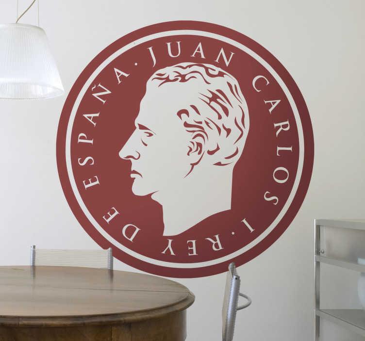 TenStickers. Stencil muro effigie re di Spagna. Caratteristico ritratto con il profilo del monarca Juan Carlos I, per coloro che amano abbellire le pareti della propria casa con decorazioni sticker regali.