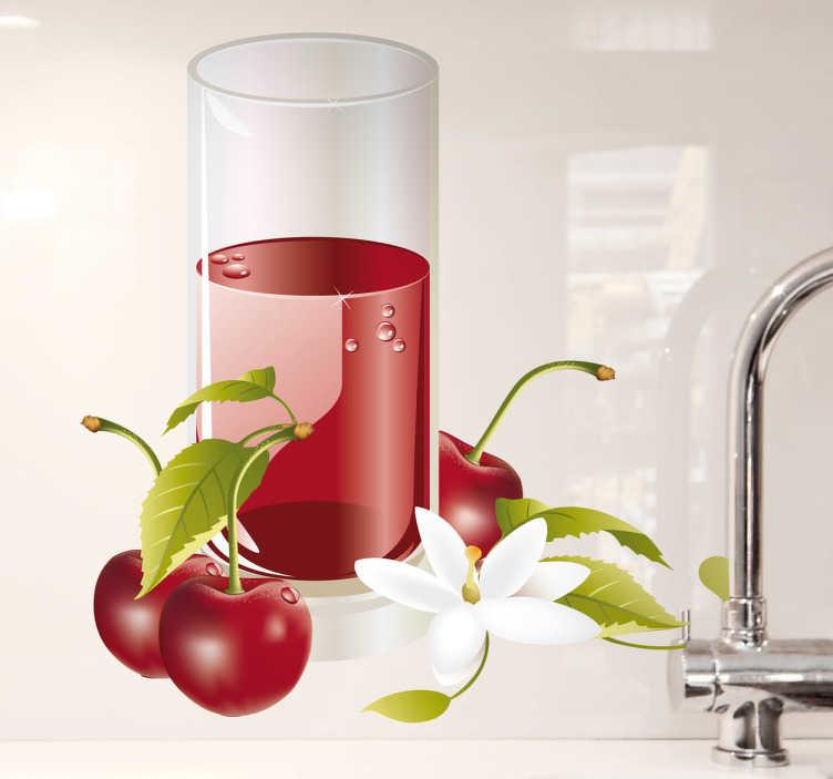 TENSTICKERS. チェリージュースウォールステッカー. キッチンステッカー - あなたの家のインテリアで食べ物と飲み物の気分を設定するための爽やかな桜のジュースの壁のステッカー。この素敵な赤い壁のステッカーは、あなたの人生に良い雰囲気の余分なタッチを追加する夏に最適です。