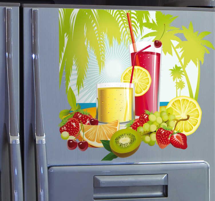 TenStickers. Tropisk juice wallsticker. Giv dit hjem et tropisk udsende med denne farverige wall sticker, med motiv af forskellige frugter, palmer og drinks. Perfekt til dit køkken.