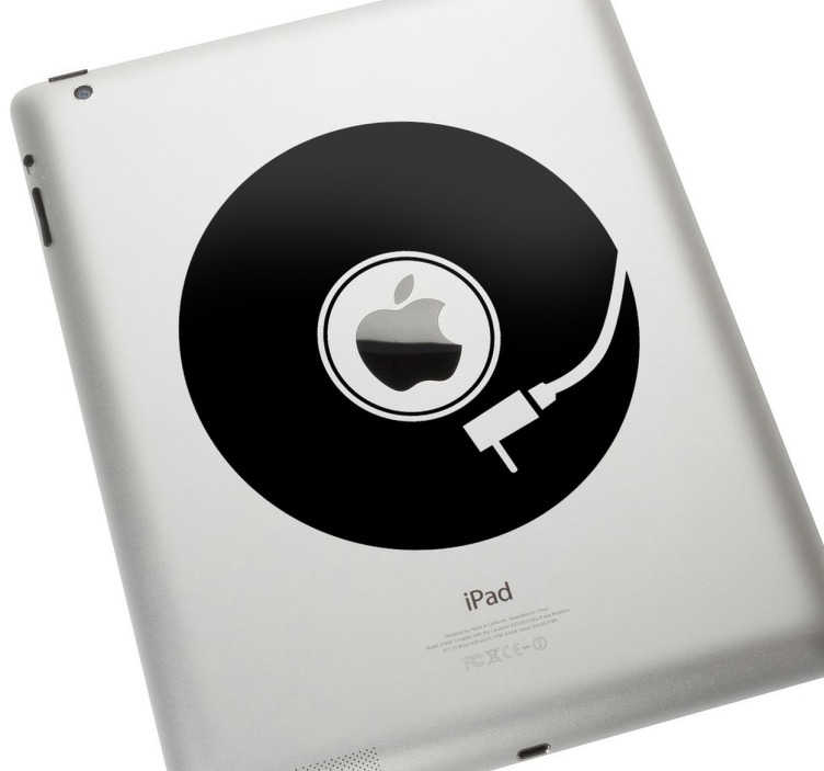 TenStickers. Naklejka na laptopa Winyl. Spraw aby Twój laptop różnił się od innych! Naklejka przedstawiająca płytę winylową doskonale wpasuje się w logo firmy Apple.