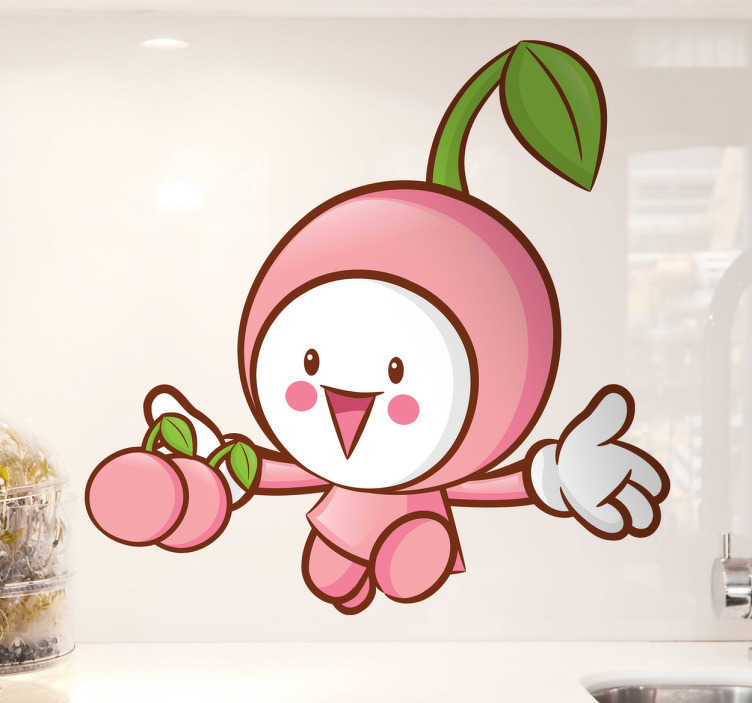 TENSTICKERS. 小さな桜の壁のステッカー. 少しピンクの日本式チェリーの幸せな壁のステッカー。このイラストレーションのスタイルは子供のためのものですが、すべての年齢層に適しています。なぜなら、特にお料理や園芸家のためにデザインされた部屋を飾るためです。