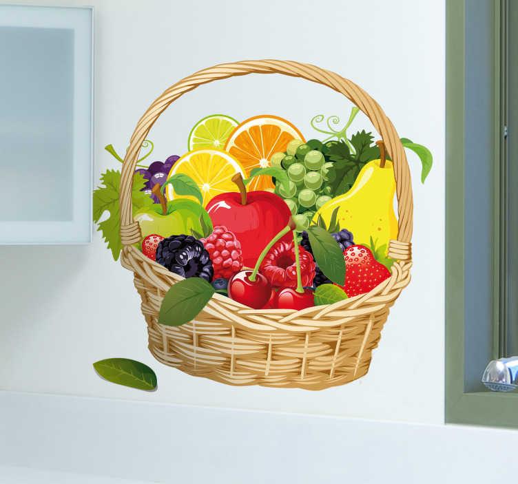 TenStickers. Decoratie sticker fruitmand. Decoreer de keuken met deze leuke muursticker waar een fruitmand met verschillende soorten fruit erin op is afgebeeld. Voordelig personaliseren.