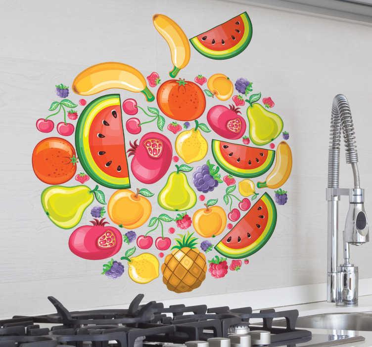 TenVinilo. Vinilo decorativo dibujo con frutas. Un adhesivo tutti frutti con forma de manzana, formado por sandías, plátanos, peras, granadas, piñas...