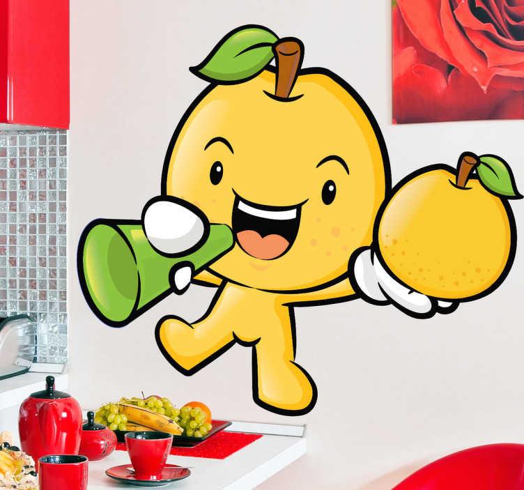 TenStickers. Gelbe Frucht Aufkleber. Lustiger Aufkleber einer gelben Frucht mit einem Apfel in der Hand, ideal für die Dekoration Ihrer Küche.