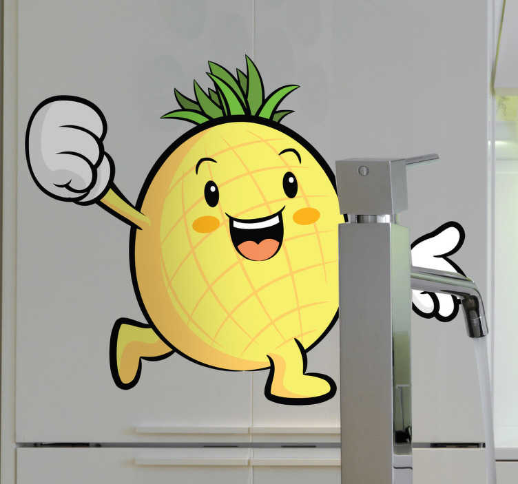 TenStickers. Pineapple Decorative Sticker. Comic style sticker of a juicy tropical fruit running along happily with one hand in the air. Choose the size that will best fit the space in your kitchen or grocery shop. Vibrant yellow design to liven up the walls.