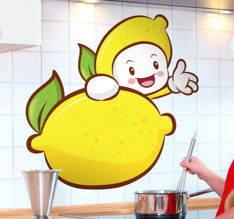 TenStickers. Lemon Kid Wall Sticker. Kitchen Stickers - Playful illustration of a lemon character. Quirky decal designs to bring your kitchen or cooking area alive.