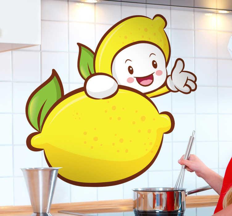 TENSTICKERS. レモンの子供の壁のステッカー. キッチンの壁のステッカー - レモンの後ろから手を振って笑っているかわいいレモンキャラクターの遊び心のあるイラスト。私たちのフルーツステッカーコレクションからこの遊び心のある漫画の壁のステッカーであなたの台所の壁にいくつかの活気のある黄色と緑を追加します。