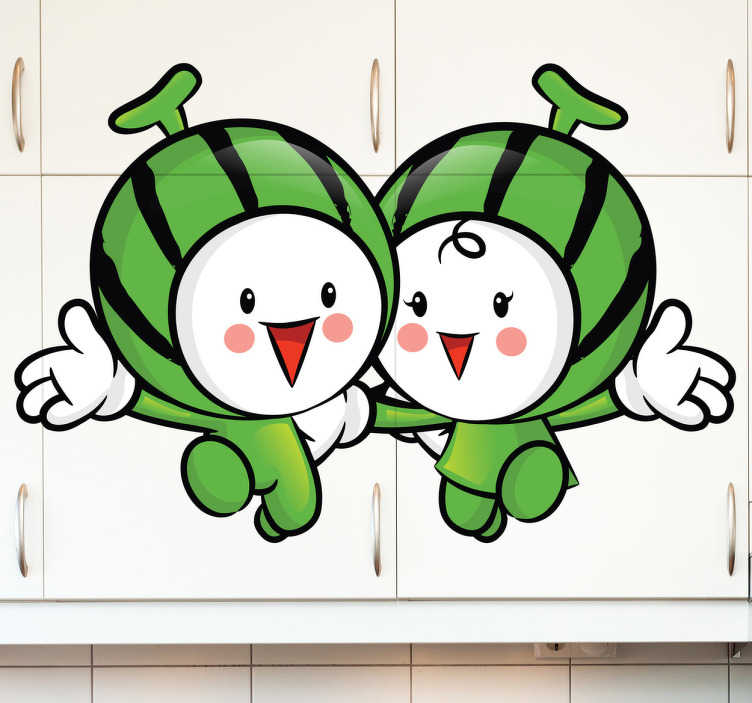 TenStickers. Naklejka dekoracyjna arbuzy przyjaciele. Naklejka na ścianę reprezentująca dwa trzymające się za ręce, arbuzy. Zabawny obrazek zmieni oblicze Twojego pokoju.