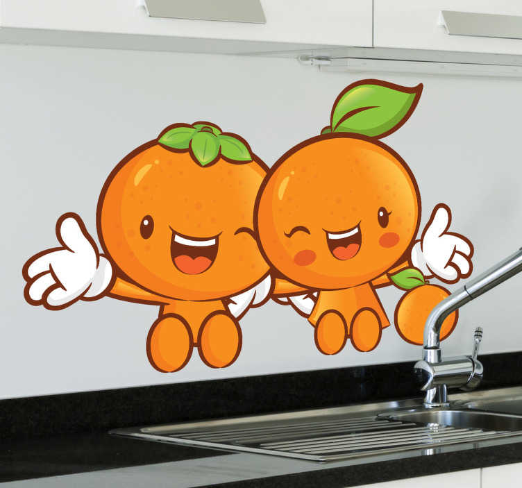 TenStickers. Sticker vrolijke mandarijntjes. Fleur uw keuken op met deze leuke muursticker van twee vrolijke mandarijntjes. Kleurrijke en vrolijke interieursticker voor in uw keuken.