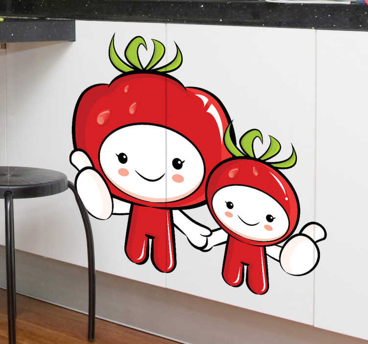 TENSTICKERS. トマトの子供の壁のステッカー. かわいいトマトに身に着けられた2人のキャラクターのキッチンウォールステッカーは、あなたが料理中に食器棚、壁、家電製品に色を付けるのに最適です!誰もが愛する、健康な子供たちのテーマのステッカー!