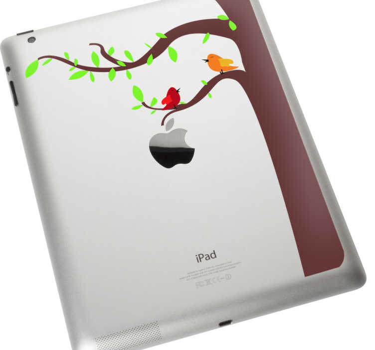 TenStickers. Birds & Tree iPad Sticker. iPad Stickers - Nature theme design of a tree & two birds also making use of the Apple logo. * Depending on the size of the device the proportions may vary slightly.