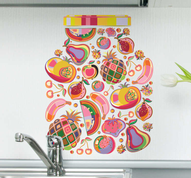 TenStickers. Muursticker kleurrijke vruchten in pot. Deze muursticker omtrent allerlei soorten vruchten in felle kleuren en vrolijke vormen in een grote pot verpakt. Snelle klantenservice.