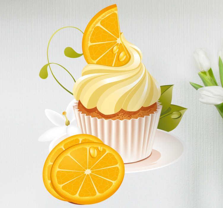 TenStickers. Sticker dessert à l'orange. Sticker mural pour cuisine de votre dessert préféré : un muffin avec sa crème citronnée accompagné de fines tranches d'orange.