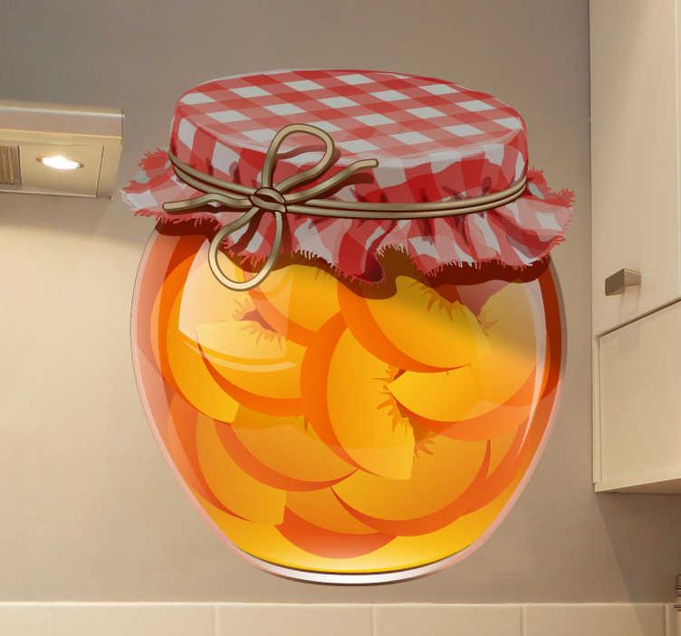 TenVinilo. Vinilo decorativo tarrón conserva. Pegatina de una vasija de vidrio bien precintada con un trapo de cuadrados y con melocotón en almíbar.