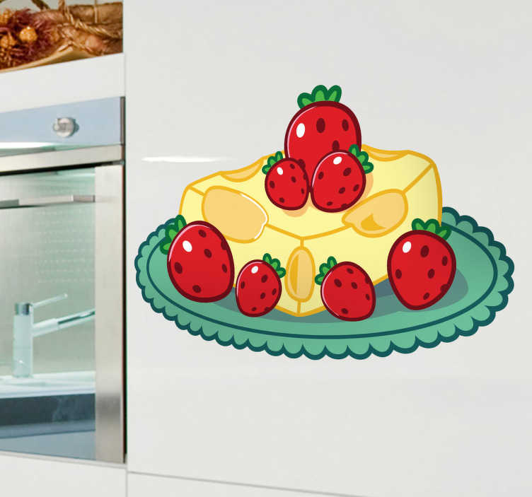 TenStickers. Sticker keuken kaas aardbeien dessert. Een leuke muursticker van een lekker nagerecht met kaas en aardbeien. Een mooie wandsticker voor de decoratie van uw keuken!