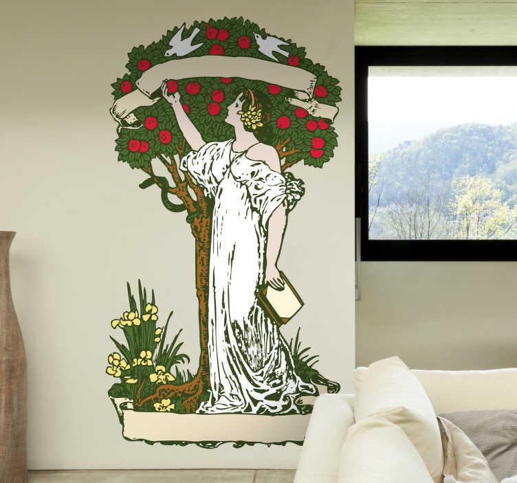 TenStickers. Naklejka na ścianę drzewo wiedzy. Naklejka dekoracyjna inspirowana bibilijnym drzewem poznania dobra i zła, rosnącym wewnetrz Edenu.