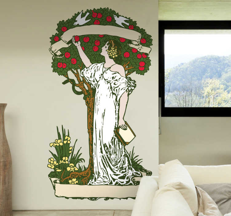 TENSTICKERS. 知識の木の壁のステッカー. 知識の木を示すキリスト教の壁アートデカール。リビングルームに配置するユニークでオリジナルのデザイン。