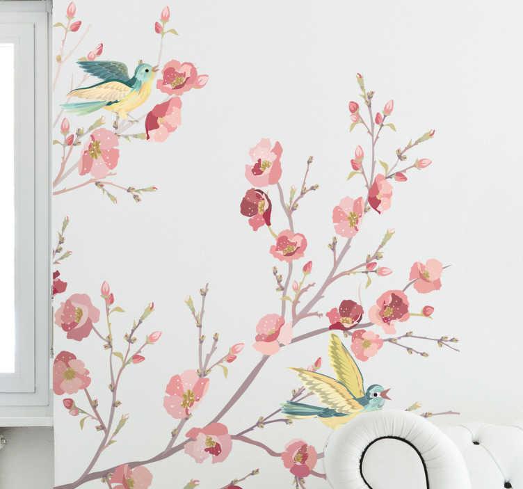 TenStickers. Sticker aquarelle petits oiseaux. Stickers illustrant des petits oiseaux sur des branches d'arbres. Sélectionnez les dimensions de votre choix pour personnaliser le stickers.