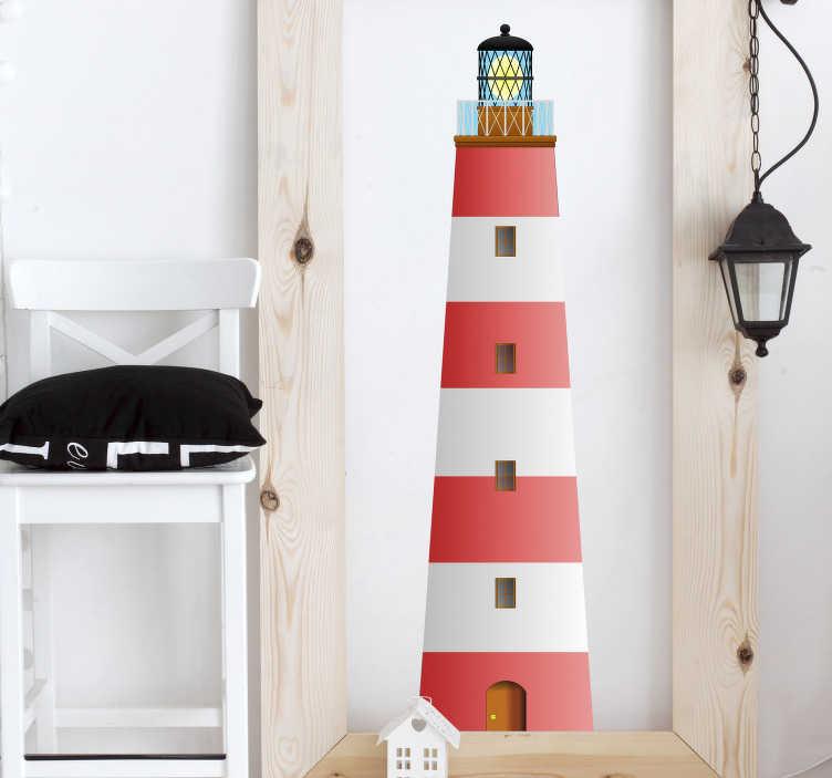 TenStickers. 红色和白色灯塔贴纸. 说明红色和白色灯塔的航海墙贴纸。我们收集的海墙贴纸装饰贴纸非常适合您的家居