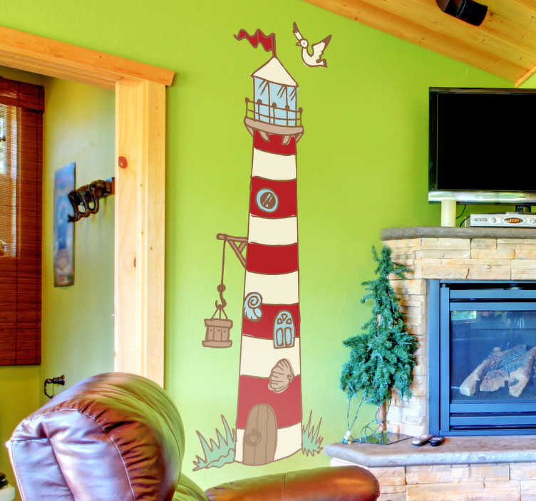 TenStickers. Adesivo bambini illustrazione faro. Sticker decorativo che raffigura il faro del porto con la classica colorazione in bianco e rosso. Ideale per decorare la cameretta dei bambini.