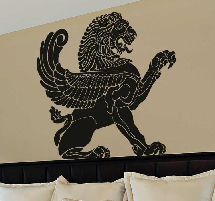 TenStickers. Muursticker gevleugelde leeuw. Deze muursticker omtrent een illustratie in silhouet van een sterke leeuw met vleugels. Leuke manier ter decoratie van uw woning.