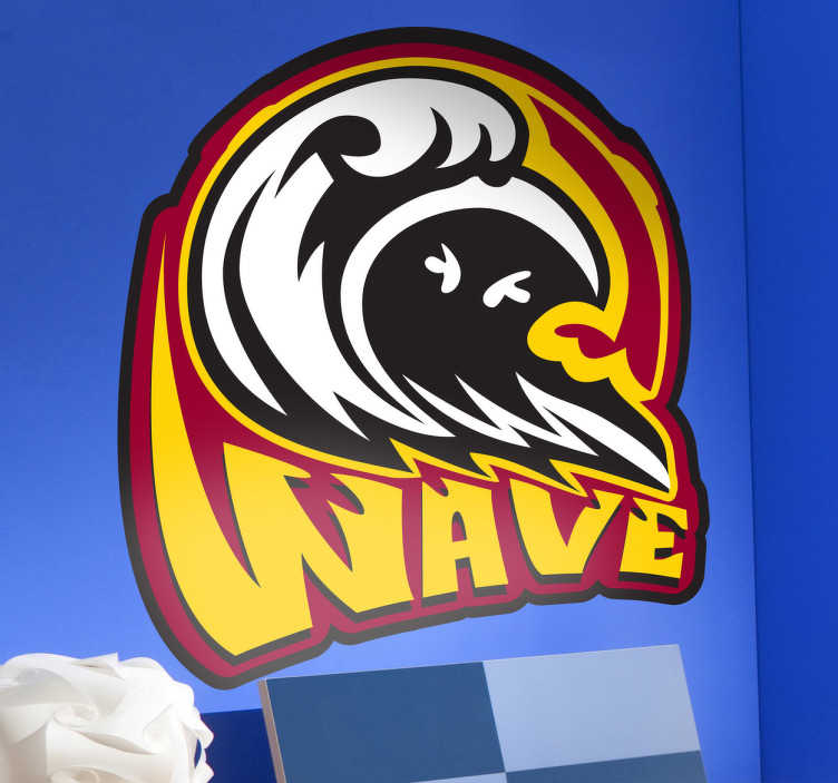 TenStickers. Wave Logo Decorative Decal. This wall sticker is an attractive and colorful design made for any fan of extreme water sports.