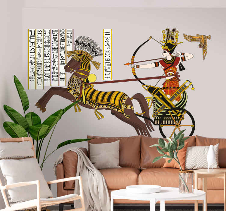 TenStickers. Egyptian Wall Mural. Spectacular wall mural of a historical figure of ancient Egypt and a hieroglyph.