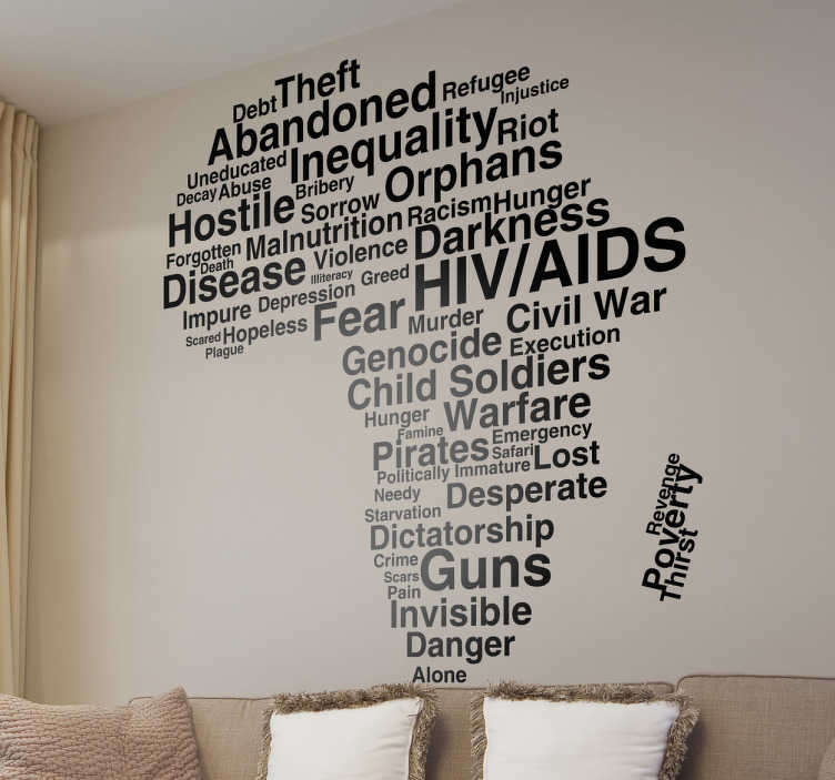 TenStickers. Problems in Africa Wall Sticker. Decorate your wall with this useful vinyl sticker in the shape of Africa, with words relating to the current problems in Africa.