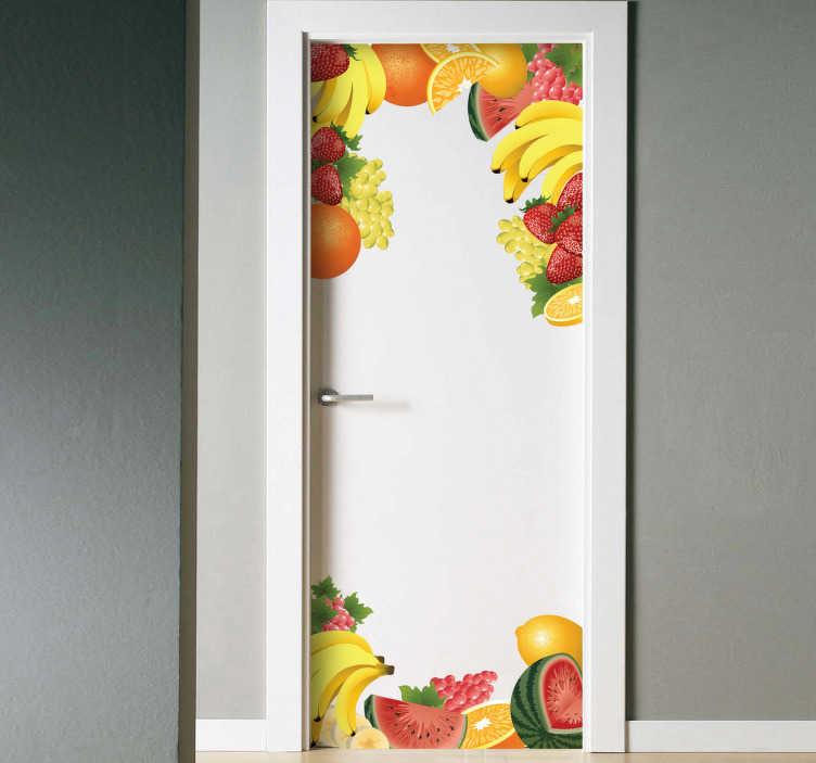 TenVinilo. Vinilo decorativo puerta frutas. Adhesivo servido en dos piezas (superior e inferior) para que enmarques y decores con motivos vegetales.