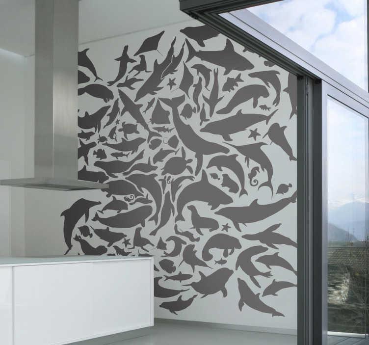 TenStickers. Vinil Decorativo Animais Marinhos. Vinil decorativo ilustrando vários animais marinhos, para dar um ar refrescante a toda a sua parede com esta decoração irreverente.