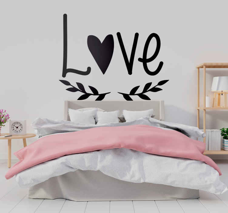 TenStickers. Love Wall Mural. Photo Mural - Photograph of LOVE written in the sand. Ideal for decorating the home.
