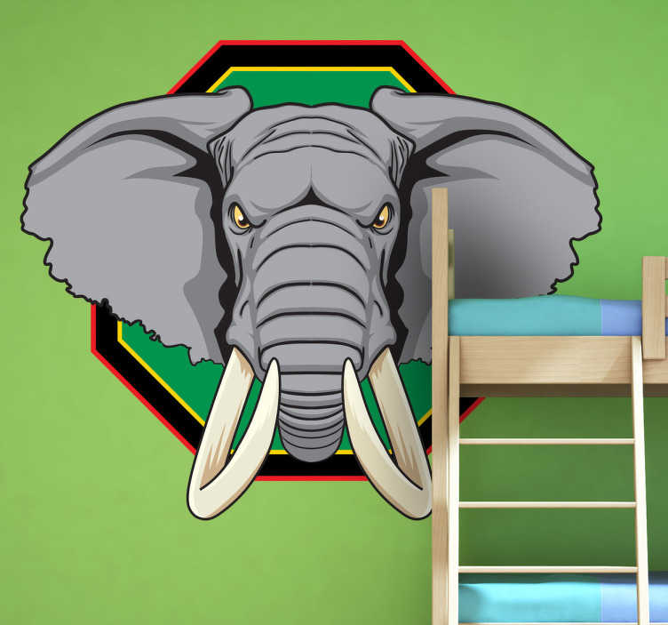 TenStickers. Adesivo murale trofeo elefante. Wall sticker che raffigura la testa di un pachiderma con corna possenti e aspetto assai minaccioso. Una decorazione originale per il soggiorno.