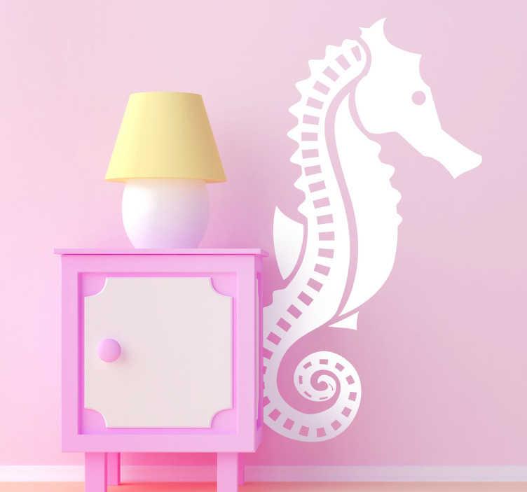 TenStickers. Sticker zeepaard. Prachtige muursticker met de mooie afbeelding van dit speciaal zeedier! Een leuke wandsticker van een zeepaard voor de decoratie van uw woning.