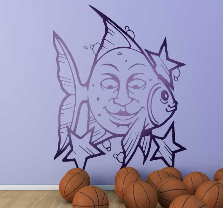 TenStickers. Fish Face Decal. Decals - Fun illustration of a fish with a face on its side surrounded by stars. Distinctive feature to decorate your walls, cupboards and devices