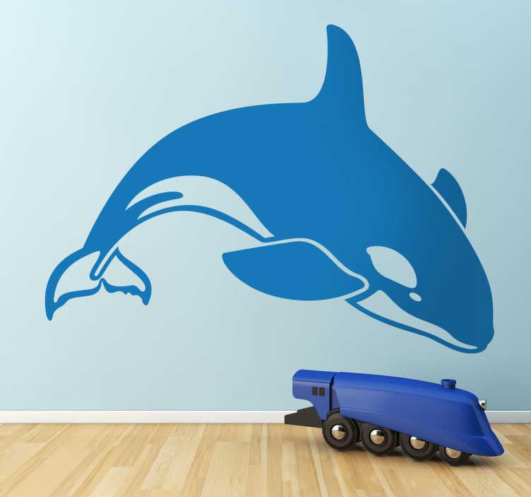 TenStickers. 逆戟鲸鲸鱼墙贴. 这个逆戟鲸墙贴非常适合鲸鱼爱好者。如果您的孩子喜欢动物,这种鲸鱼贴纸将非常适合他们的卧室。每个人都喜欢看到一只逆戟鲸自由地跳出大海。