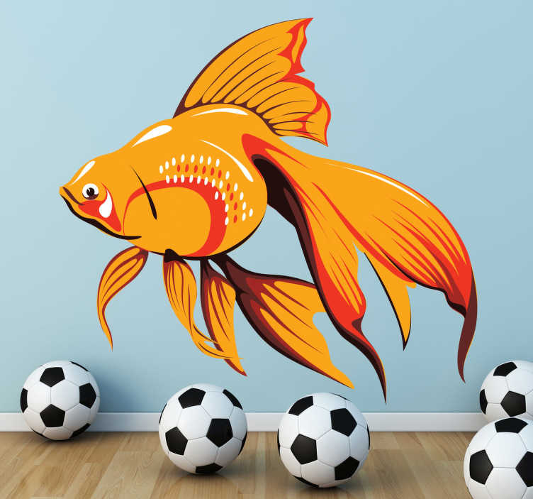 TenVinilo. Vinilo decorativo pez dorado. Linda ilustración en adhesivo de un elegante pez naranja.