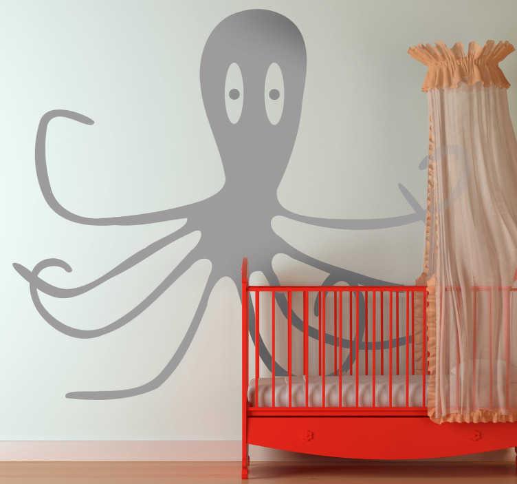 TenStickers. 어린이 낙지 벽 스티커. 낙지 실루엣 벽 스티커 - 호기심 낙지의 쾌활한 디자인. 바다 생물 벽 스티커의 우리 수집에서.