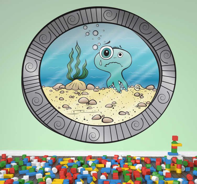 TENSTICKERS. 海の港の子供のステッカーの下. あなたに海の生命を示す水中玄武岩の華麗なデザイン!海の壁のステッカーのコレクションからデカール。この楽しくて遊び心のあるデザインで海の窓を開ける。あなたは漫画のタコ、海草、海底を見ることができます。