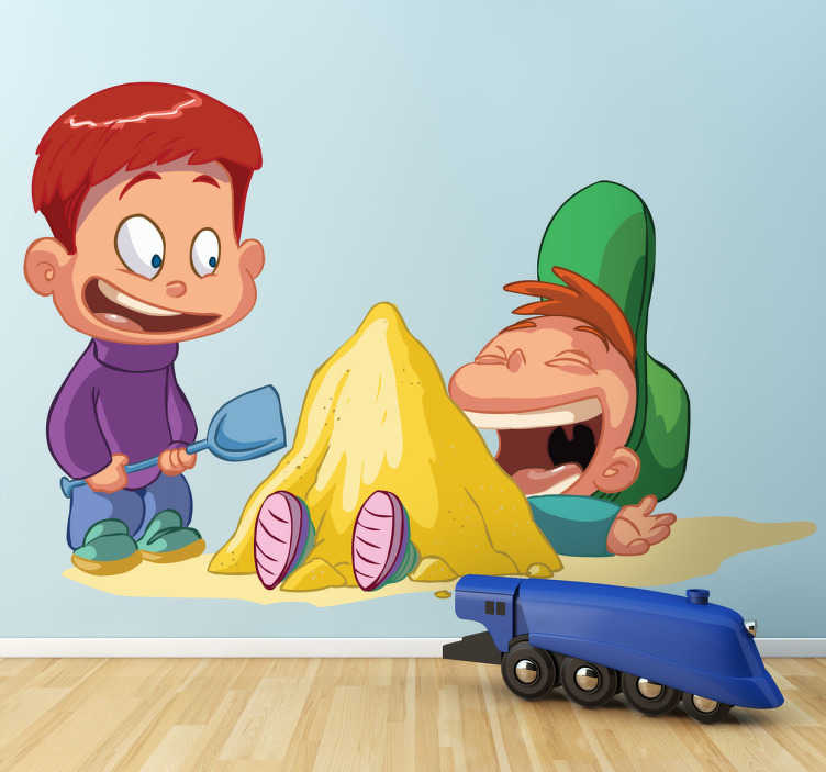 TenStickers. Sticker kinderen jongens zandkasteel. Een leuke muursticker van twee in het zand spelende jongens. Een leuke wandsticker voor de decoratie van de speelhoek of slaapkamer van uw zoon!