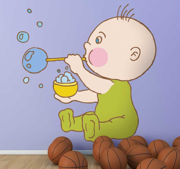 TenStickers. Sticker enfant bébé bulles. Stickers pour enfant illustrant un bébé faisant des bulles de savon.Super idée déco pour la chambre d'enfant et tout autre espace de jeux.