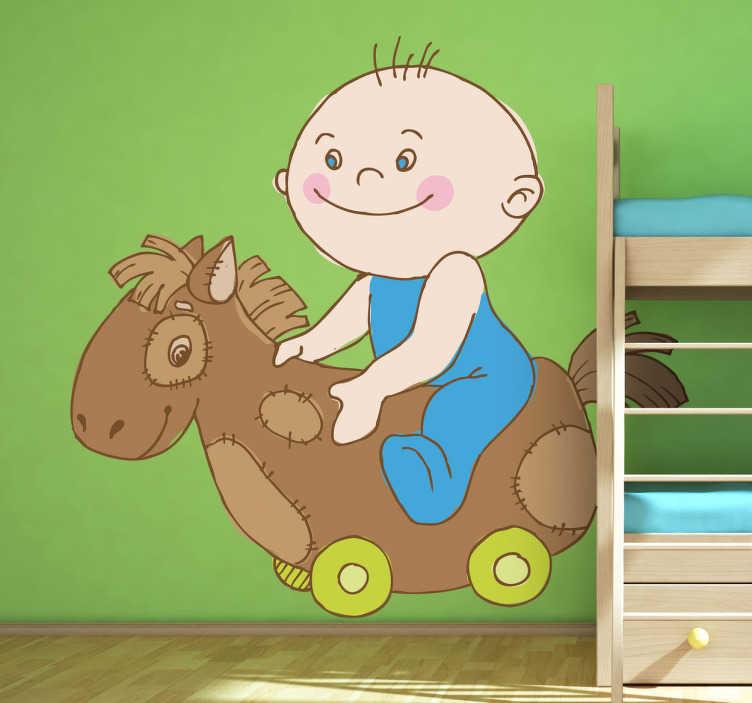 TenStickers. Wandtattoo Babyzimmer Schaukelpferd. Personalisieren Sie das Babyzimmer oder das Kinderzimmer mit diesem niedlichen Wandtattoo eines Kleinkindes auf einem Schaukelpferd!
