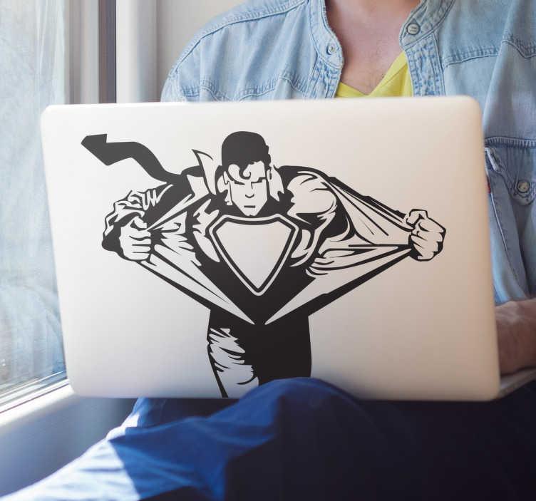 TenVinilo. Vinilo decorativo Superman para PC. Personaliza tu dispositivo Mac con un adhesivo decorativo. Fantástico vinilo de superman quitándose la camisa para entrar en acción.