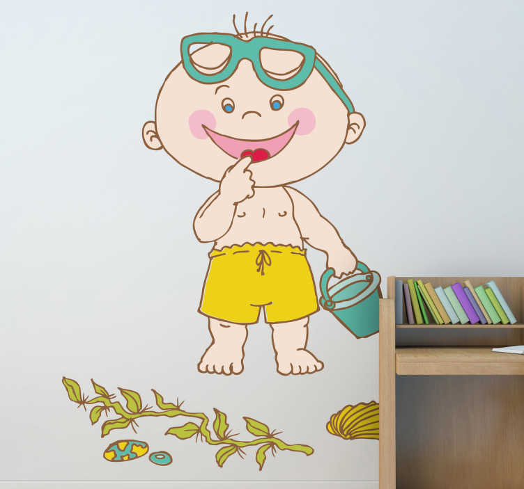 TenStickers. Toddler at the Beach Kids Decal. A decorative sticker for your child. Is it too cold to go to the beach? Make your child happy with this fantastic decal design.