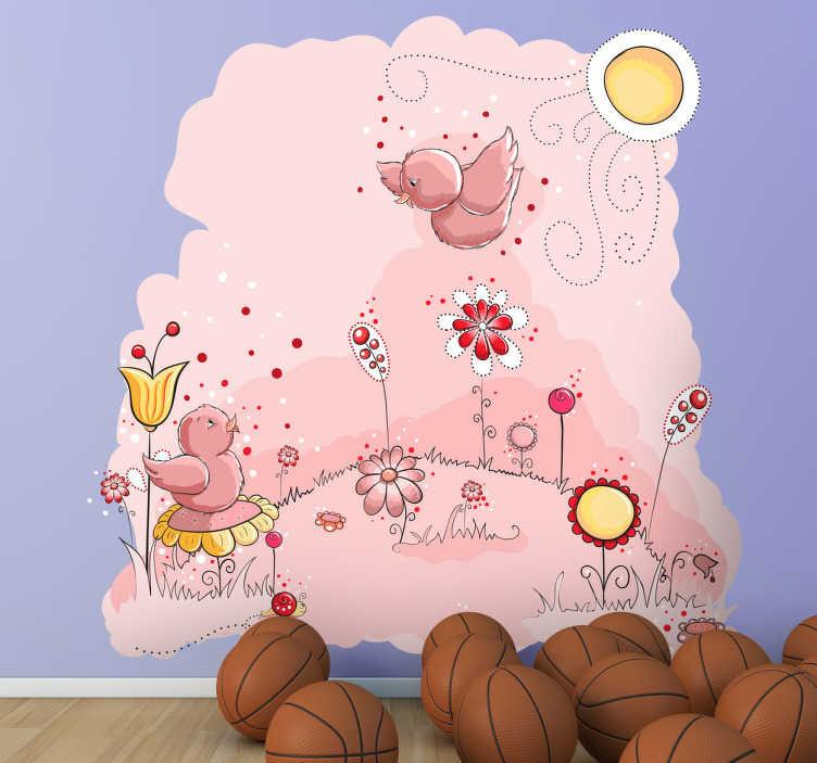 TenStickers. Naklejka różowe ptaki. Naklejka na ścianę przedstawiająca dwa ptaki na łące. Ładny obrazek wykonany w różowej scenerii nada wyjątkowy styl każdemu wnętrzu.