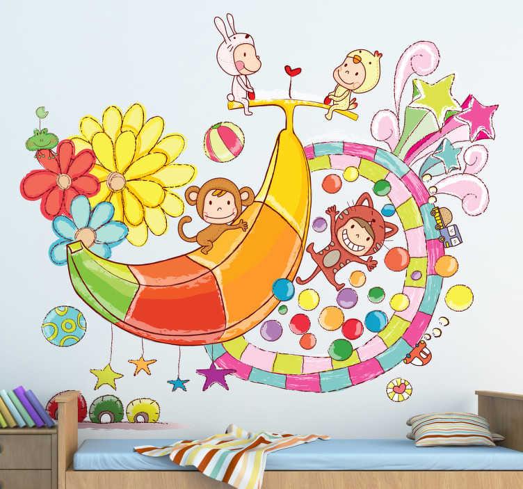 TenStickers. Adesivo cameretta festa in costume. Sticker decorativo che raffigura una banana accompagnata da bimbi travestiti da scimmiette, fiori e altri elementi di fantasia. Un'ondata di colore ed allegria per la cameretta dei bambini.