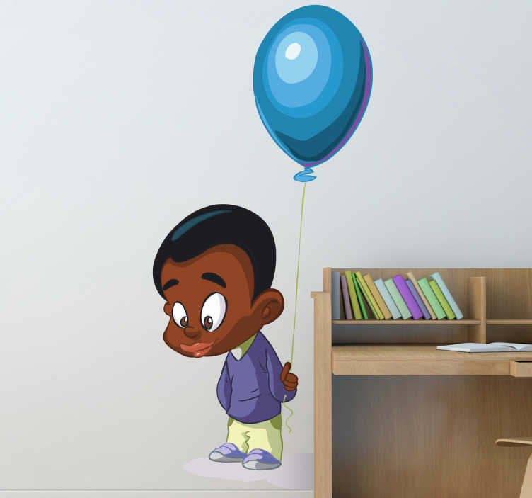 TenStickers. Naklejka chłopiec z balonem. Naklejka na ścianę przedstawiająca zamyślonego chłopca z niebieskim balonem.