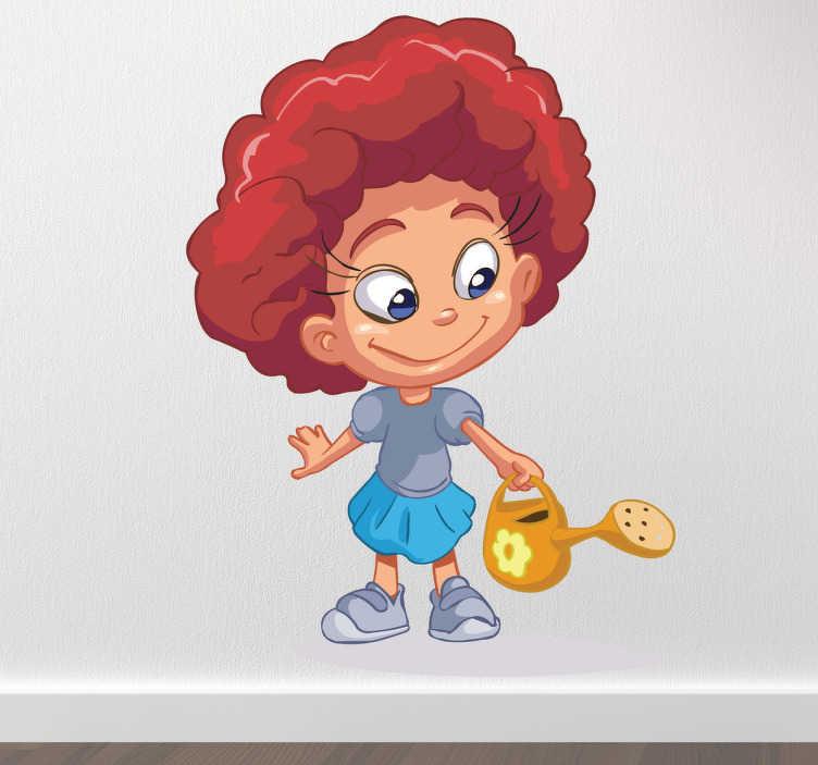 TenStickers. Sticker kinderkamer meisje met gieter. Een leuke muursticker van een meisje met een prachtige bos haren en een geel gietertje dat de planten water geeft.