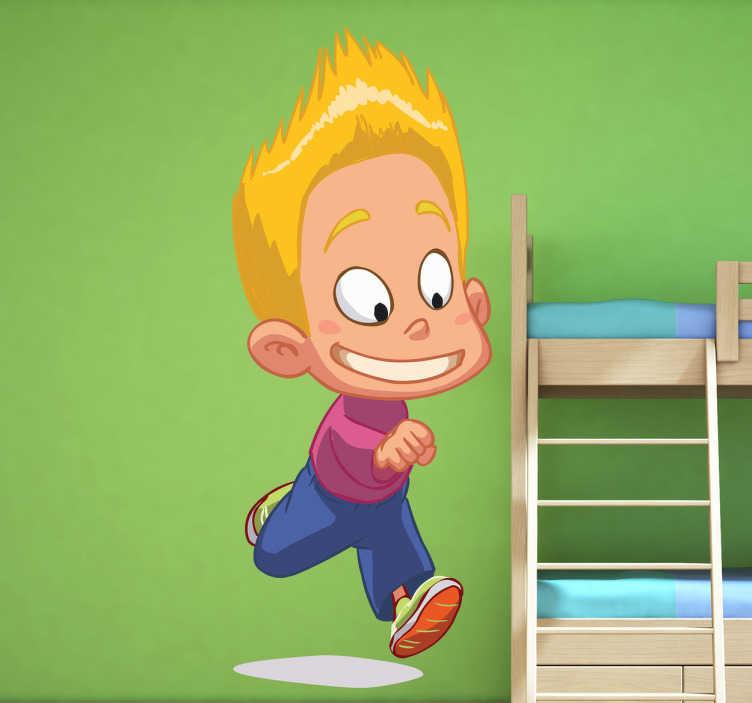TenVinilo. Vinilo infantil pelo pincho. Pegatina de un niño rubio corriendo a jugar con sus amigos a la hora del patio.