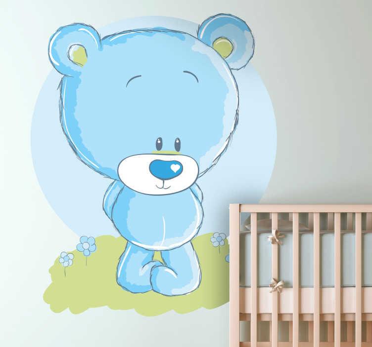 TenVinilo. Vinilo infantil peluche en el campo. Un cariñoso oso de trapo de color azul disfrutando de la naturaleza en este lindo adhesivo.