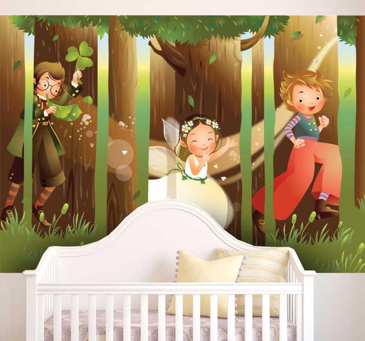 TenVinilo. Vinilo infantil pilla pilla mágico. Fotomural adhesivo con una fantástica ilusión óptica en el que hadas y duendes juegan en el bosque.